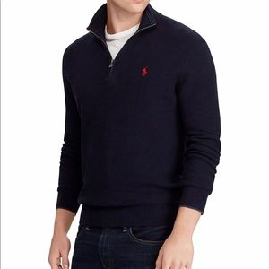 Men's Polo 1/4 Zip Pullover Cotton Sweater Navy
